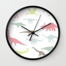 Colorful cute dinosauruses Wall Clock
