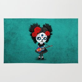 Day of the Dead Girl Playing Colorado Flag Guitar Rug