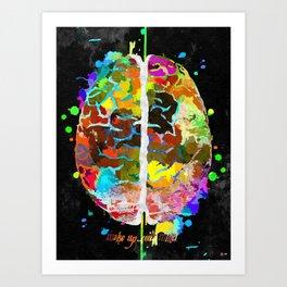 Human Brain Black Art Print
