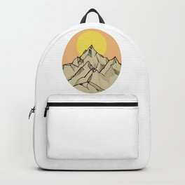 Sunset and mountains, oval Backpack