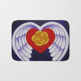 You Are My Angel With Heart Rose And Angel Wings By Annie Zeno Bath Mat