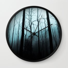 Scary Haunting Halloween Dark Forest Barren Trees Blue Background Wall Clock