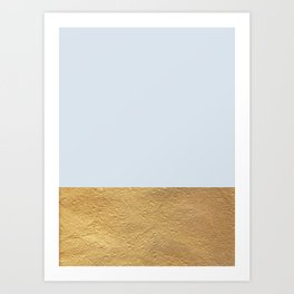 Color Blocked Gold & Periwinkle Art Print