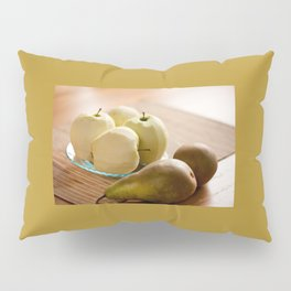 Peeled apples and pears waiting for peeling Pillow Sham