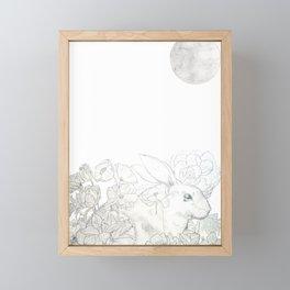 rabbit flower and moon Framed Mini Art Print