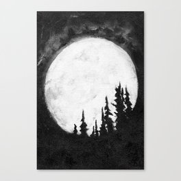 Full Moon & Trees Canvas Print
