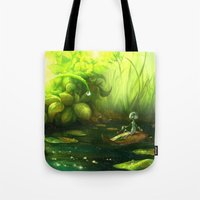 neil gaiman Tote Bags featuring Solitude through the leaves, by Neil Price by Neil Price
