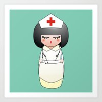 nurse Art Prints featuring Kokeshi Nurse by Pendientera