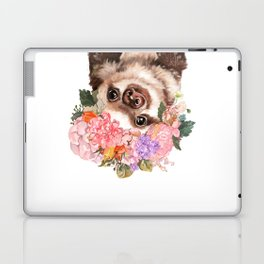 Baby Sloth with Flowers Crown in White Laptop & iPad Skin