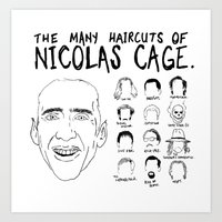 nicolas cage Art Prints featuring The Many Haircuts Of Nicolas Cage. by Stewart Chown