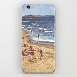 people on bournemouth beach Blue Sea iPhone Skin