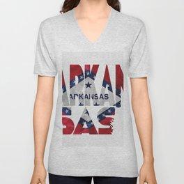 Arkansas Typographic Flag Map Art Unisex V-Neck