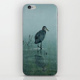 Blue Heron Misty Morning iPhone Skin