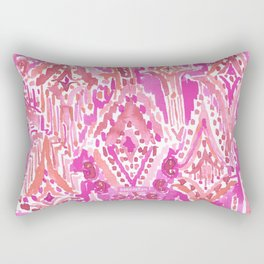 SUNSET DROPS OF WONDER Pink Ikat Watercolor Tribal Rectangular Pillow