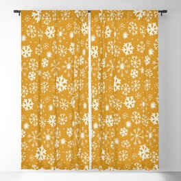 Snowflake Snowstorm In Yellow Mustard Blackout Curtain