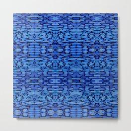 Cobalt Ikat Watercolor Pattern Metal Print
