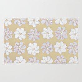 Floral design Yellow, light blue & Light Fuchsia Flowers Allover Print Rug