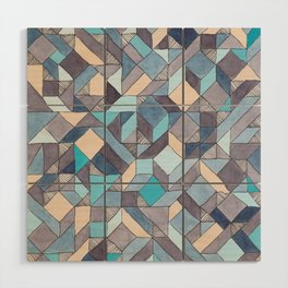 Shifitng Geometric Pattern in Blue Wood Wall Art