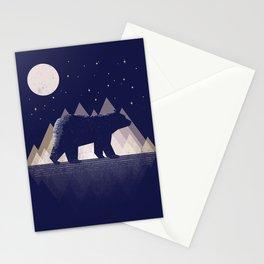 Moon Bear - Geometric, bear shirt, stars, mountains, animal t shirt, animal print t shirt, wildlife Stationery Cards