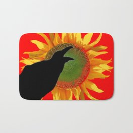 Red & Yellow Sunflower Cawing Crow/Raven Bath Mat