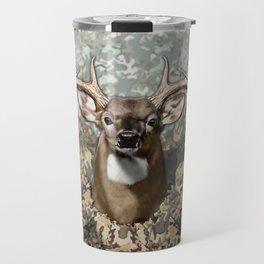 Whitetail Buck and Camo Travel Mug