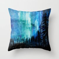 northern lights Throw Pillows featuring Northern Lights by VivianLohArts
