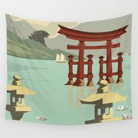 travel poster Wall Tapestries featuring Kaiju Travel Poster by Duke Dastardly