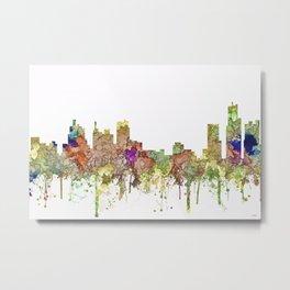Detroit, Michigan Skyline - Faded Glory Metal Print