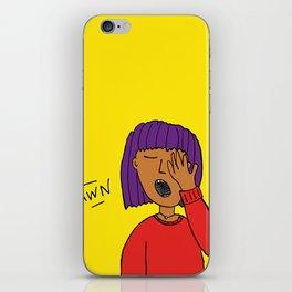 Yawning woman with purple hair iPhone Skin