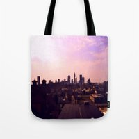 cleveland Tote Bags featuring Cleveland Skyline by Toni Tylicki