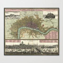 Vintage Map of London England (1740) Canvas Print