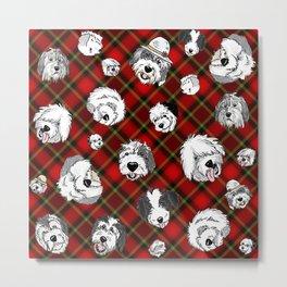 Plaid Sheepies Red Metal Print