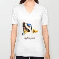 best friend V-neck T-shirts featuring my best friend by DagmarMarina
