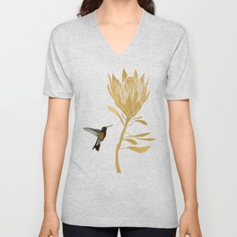 Hummingbird & Flower I Unisex V-Neck