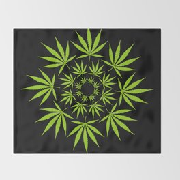 Cannabis Leaf Circle (Black) Throw Blanket