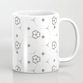 Minimalist Black and White mini Flower Pattern Coffee Mug