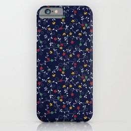 Red, Yellow, and Green flowers on vines iPhone Case