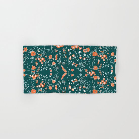 Esmerald Flower Pattern Hand & Bath Towel
