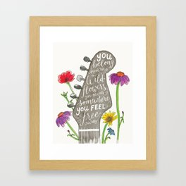 You belong among the wildflowers. Tom Petty quote. Watercolor guitar illustration. Hand lettering. Gerahmter Kunstdruck