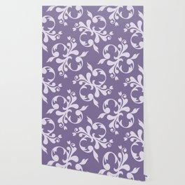 Royal Damask, Ornaments, Swirls - Purple White Wallpaper