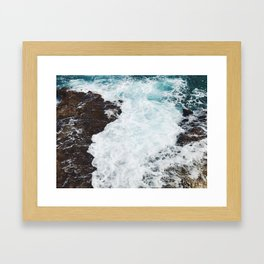 Crashing waves in the Caribbean Sea Framed Art Print