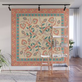 Square decorative design with ornament of flowers and leaves. Wall Mural