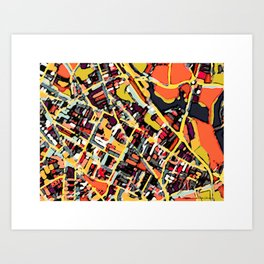 Abstract Map - Somerville MA Art Print