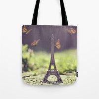 eiffel tower Tote Bags featuring Eiffel Tower by Gabriela Da Costa