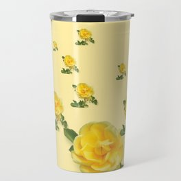 RAINING YELLOW ROSES COLLAGE ART Travel Mug