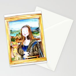 Mona Luisa and cat Leo Stationery Cards