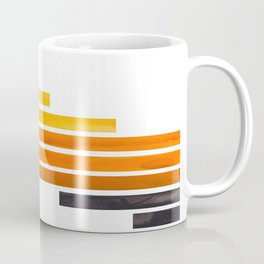 Orange Yellow Ocre Midcentury Modern Minimalist Staggered Stripes Rectangle Geometric Pattern Waterc Coffee Mug
