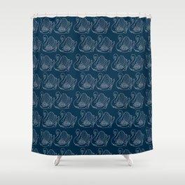 Crown Lynn Swan Pattern on Navy Shower Curtain