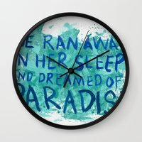 "coldplay Wall Clocks featuring ""She Dreamed of Paradise""-Coldplay by Fabfari"