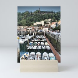 Spanish sail boats in the harbour - San Sebastian, Donostia, Spain Mini Art Print